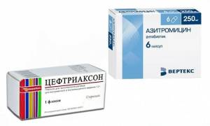 Назначили цефтриаксон и азитромицин